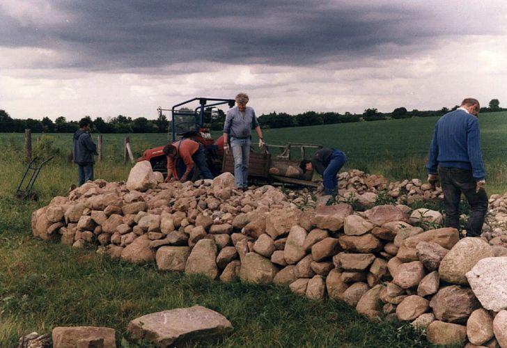 Beim Bau einer Lesestein-Mauer